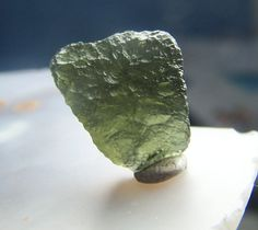 Moldavite Crystal - tektite gem mineral specimen - green wire wrap jewelry stone - Raw natural genuine - Meteorite top quality textured HSP4 by CoyoteRainbow on Etsy