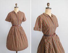 Vintage 1950s Dress  50s 60s Brown Plaid by RaleighVintage on Etsy, $48.00