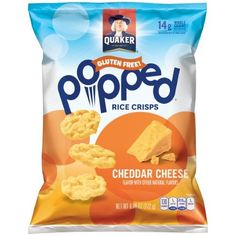 Quaker Popped Rice Crisp Snacks, Gluten Free, Cheddar Cheese, 6.06 Oz