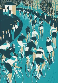 La Flèche Wallonne by Eliza Southwood from her Spring Classics exhibition on at Look Mum No Hands. This year's edition takes place tomorrow. Bike Illustration, Bike Poster, Bicycle Race, Cycling Art, Bike Art, Sport, Screen Printing, Wall Art Prints, Art Projects