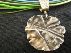 Art Clay Silver Rhubarb leaf pendant, leather necklace | silsart - Jewelry on ArtFire