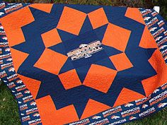Bronco Football Quilt - Champion Star Block- Quality Fabric -Very Large Lapsized Quilting Room, Longarm Quilting, Machine Quilting, Quilting Ideas, Navy Fabric, Orange Fabric, Star Blocks, Quilt Blocks, Nfl Broncos