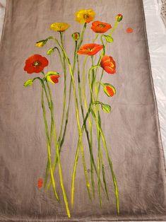 양귀비의 계절 : 네이버 블로그 Saree Painting, T Shirt Painting, Alpona Design, Fabric Paint Designs, Painted Clothes, Watercolor Paintings, Tutorials, Hand Painted, Embroidery