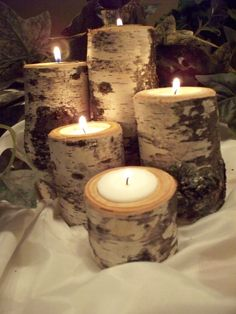 Birch Tea light candle holder Set of Five Rustic by Northwoodswood, $18.00