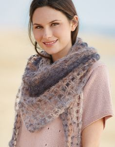 Model / Pattern of Shawl of Woman of Autumn / Winter from KATIA Crochet Poncho, Afghan Crochet Patterns, Crochet Scarves, Laine Katia, Seventies Fashion, Mohair Yarn, Wrap Pattern, Crochet Woman, Knitting Accessories