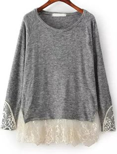 Buy Grey Long Sleeve Contrast Lace Loose T-Shirt from abaday.com, FREE shipping Worldwide - Fashion Clothing, Latest Street Fashion At Abaday.com
