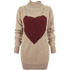 Vivienne Westwood Anglomania Heart Frost Jumper found on Polyvore featuring tops, sweaters, drop shoulder tops, red sweater, jumper top, relaxed fit tops and jumpers sweaters