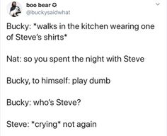 Marvel Quotes, Funny Marvel Memes, Avengers Memes, Marvel Dc Comics, Marvel Heroes, Marvel Avengers, Dc Movies, Marvel Movies, Bucky And Steve