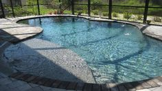 Beach entry tanning ledge, Tahoe blue Pebble Tec finish, deck jet ...