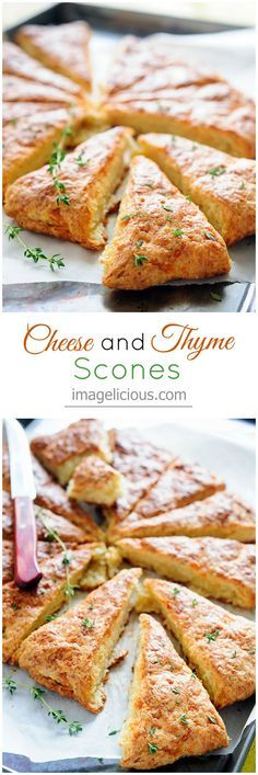 Cheese and Thyme Scones - cheesy, salty, savoury, satisfying. Perfect for breakfast, snack or dinner — Imagelicious (christmas snacks breakfast) Cheese Scones, Savory Scones, Breakfast Snacks, Breakfast Recipes, Thyme Recipes, Easy Cheese, Think Food, Muffins, Baking Recipes