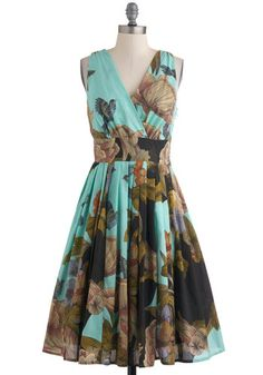 Glamour Power to You Dress in Woodland Garden - Multi, Yellow, Green, Blue, Pink, Floral, Pleats, Party, Sleeveless, Summer, Fit & Flare, Long