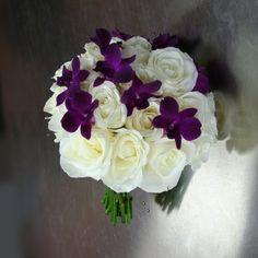 simple white and purple wedding bouquet designs | Wedding bouquet with white roses and purple orchids - W Flowers Ottawa