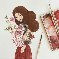 If this illustration is pretty at all, is mainly because of the inspiration behind it, that comes from my talented Romanian ancestors and… Art And Illustration, Illustrations And Posters, Watercolor Illustration, Watercolor Paintings, Kunst Inspo, Art Inspo, Posca Marker, Guache, Traditional Art