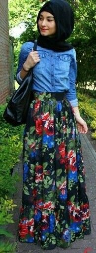 Denim shirt and floral skirt. Perfect for spring.