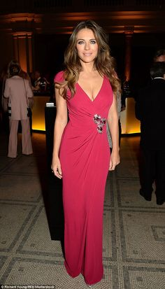 Bold look: Elizabeth Hurley attended the star-studded Porter Magazine's Incredible Women Letters Live Special Performance at London's V&A Museum on Tuesday evening