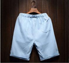 Men's Cotton Linen Shorts Breathable Beach Shorts Beads Light Blue - Shorts