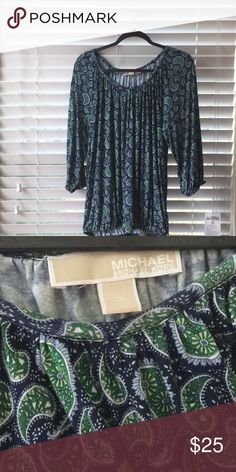 c077664377f2 Michael Kors Size 1x Paisley worn once Michael Kors 1 2 length sleeves thin  but not see through blouse. Green and Blue. Michael Kors Tops Tunics