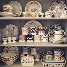 """Pale Blue Toast"" Pale Blue Toast 8 Plate at Emma Bridgewater Small Dresser, Welsh Dresser, Cosy Kitchen, Kitchen Decor, Kitchen Unit, Emma Bridgewater Pottery, Kitchen Dresser, Little Boxes, Decoration"