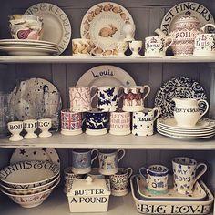 """Pale Blue Toast"" Pale Blue Toast 8 Plate at Emma Bridgewater Cosy Kitchen, New Kitchen, Kitchen Decor, Kitchen Unit, Small Dresser, Welsh Dresser, Emma Bridgewater Pottery, Kitchen Dresser, Little Boxes"