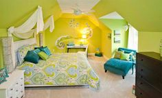 Blue and Lime Green Bedroom
