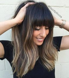 Long Balayage Hair With Straight Bangs                                                                                                                                                                                 More