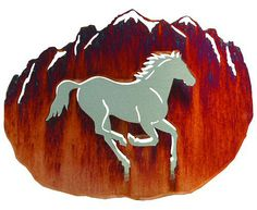 3D Wild Horse Hand Brushed Steel on Acid Washed Metal Wall Art