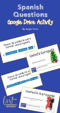 My students love Google Drive activities. In this Spanish Questions Interactive Notebook and Google Drive Activities by Angie Torre, students stay engaged by moving the parts of speech in order to form yes/no and interrogative