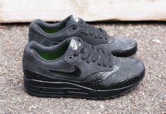 #Nike Womens Air Max 1 Premium Black Croc #sneakers