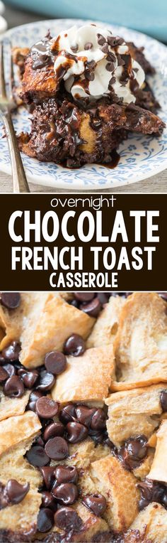 Chocolate French Toast Casserole - this easy overnight french toast recipe is fu. - Chocolate French Toast Casserole – this easy overnight french toast recipe is full of chocolate f - Overnight French Toast, French Toast Bake, French Toast Casserole, Breakfast Casserole, French Toast Recipes, Crockpot French Toast, What's For Breakfast, Breakfast Dishes, Breakfast Recipes