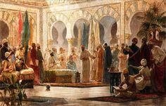Court of powerful Muslim ruler, Abd ar-Rahman III, Umayyad Dynasty of Cordoba