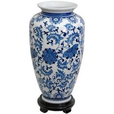 Features:  -Traditional baluster shape.  -Elegant ming blue and white vine and flower design.  -High grade durable vitreous porcelain ceramic.  -Stand included: No.  -Color: Blue and white.  Product T
