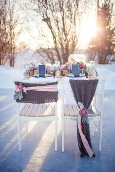 Use cute scarves to decorate the Mr + Mrs chairs for a #winterwedding - Just For You Photography - http://ruffledblog.com/ruffled_galleries/winter-wonderland-inspiration-shoot/winter46/
