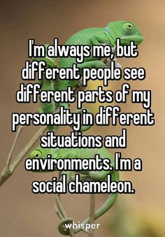 """I'm always me, but different people see different parts of my personality in different situations and environments. I'm a social chameleon."""