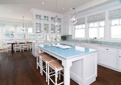 The multi-colored blue glass tile forming the backsplash and the L-shaped countertop have my attention. White & Wonderful - traditional - Kitchen - New York - Plato Woodwork, Inc. Beach House Kitchens, Home Kitchens, Design Your Home, House Design, Blue Countertops, Blue Backsplash, Blue Granite, Granite Countertop, Deco Marine