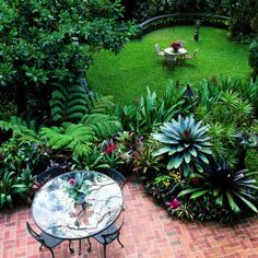 Bromeliads and other tropical plants make this feel like a secret garden.