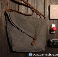Gray Genuine Cow leather bag canvas cross body bag leather Messenger bag  Laptop bag Women's Men's leather canvas Bag