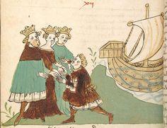 """Rudolf <von Ems> Willehalm von Orlens — Straßburg - """"Werkstatt von 1418"""", um 1420 Cod. Pal. germ. 323 Folio 104v"""