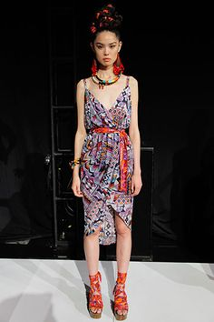 Mara Hoffman Spring 2012 collection. Peruvian printed wrap dress in purple and red. Sexy!