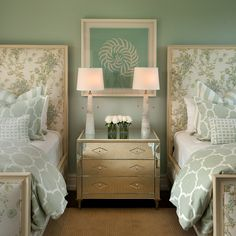 Twin beds Windsor smith riad how divine these marble lamp bases pistachio green bedding and mirrored drawers