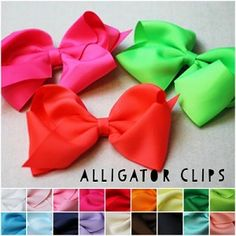 Classic Oversized Grosgrain Hair Bow, available in 22 colors, now with 3 neon colors! Only $1.99 each.