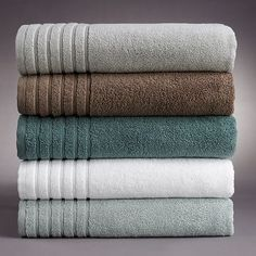 """our new bath towels.  the teal  color.  walls are now painted in """"quiet moments"""""""