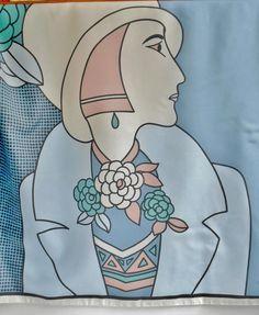 Vintage Scarf Signed HAUBER Domino- Set Lady Profile Unique Neckerchief Fashion Accessory by VintageFashionReplay on Etsy