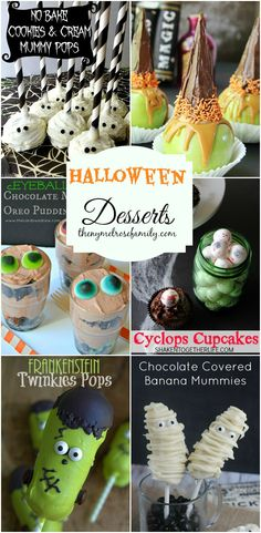 Halloween Desserts! I love the Cookies and Cream Mummy Pops!