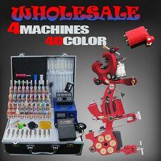 Complete Tattoo Kits 4 Pro tattoo Machines Power Needles 40 Ink