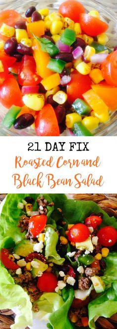 21 Day Fix Roasted Corn and Black Bean Salad Confessions of a Fit Foodie 21 Day Fix Diet, 21 Day Fix Meal Plan, Week Diet, Healthy Salad Recipes, Diet Recipes, Healthy Dinners, Veggie Recipes, Recipies, 21 Day Fix Breakfast