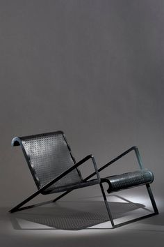 Jean Royère - Chair, 1937 Deckchair angles in lacquered perforated metal