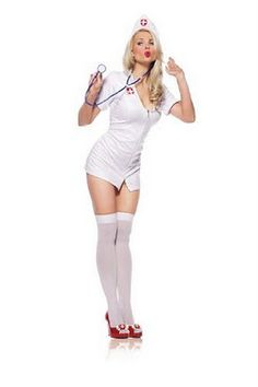 Nurse Sexy Costume for Halloween includes Zipper front dress, Low-cut Mini Dress, Headpiece and toy stethoscope. This Sexy Nurse Costume for Women comes in size Medium/Large. Nurse Halloween Costume, Sexy Nurse Costume, Halloween 2013, Sexy Outfits, Fashion Outfits, Trendy Outfits, Leg Avenue Costumes, 1950 Pinup, Nursing Clothes