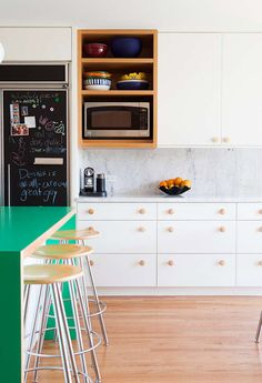White + green kitchen