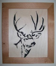 Mule deer in wood scroll saw portrait - SS Woodcraft
