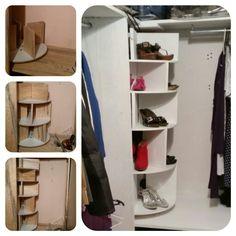 Organizador de zapatos Con un balero para bancos giratorio como base vas agregando pisos con divisores para crear una torre organizadora de zapatos  #diy #shoes #organizer